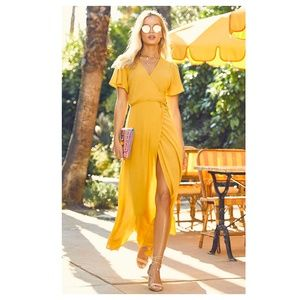 NWT Lulus Much Obliged Yellow Maxi Dress - M